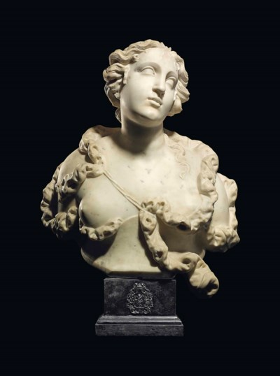 A MARBLE BUST OF DIANA