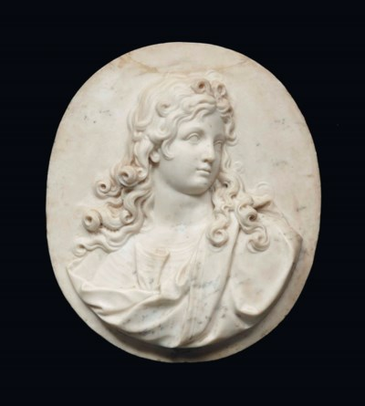A MARBLE PORTRAIT RELIEF OF A
