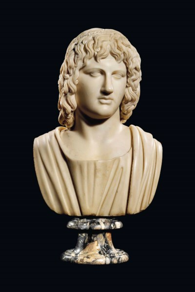 A MARBLE BUST OF ALEXANDER THE