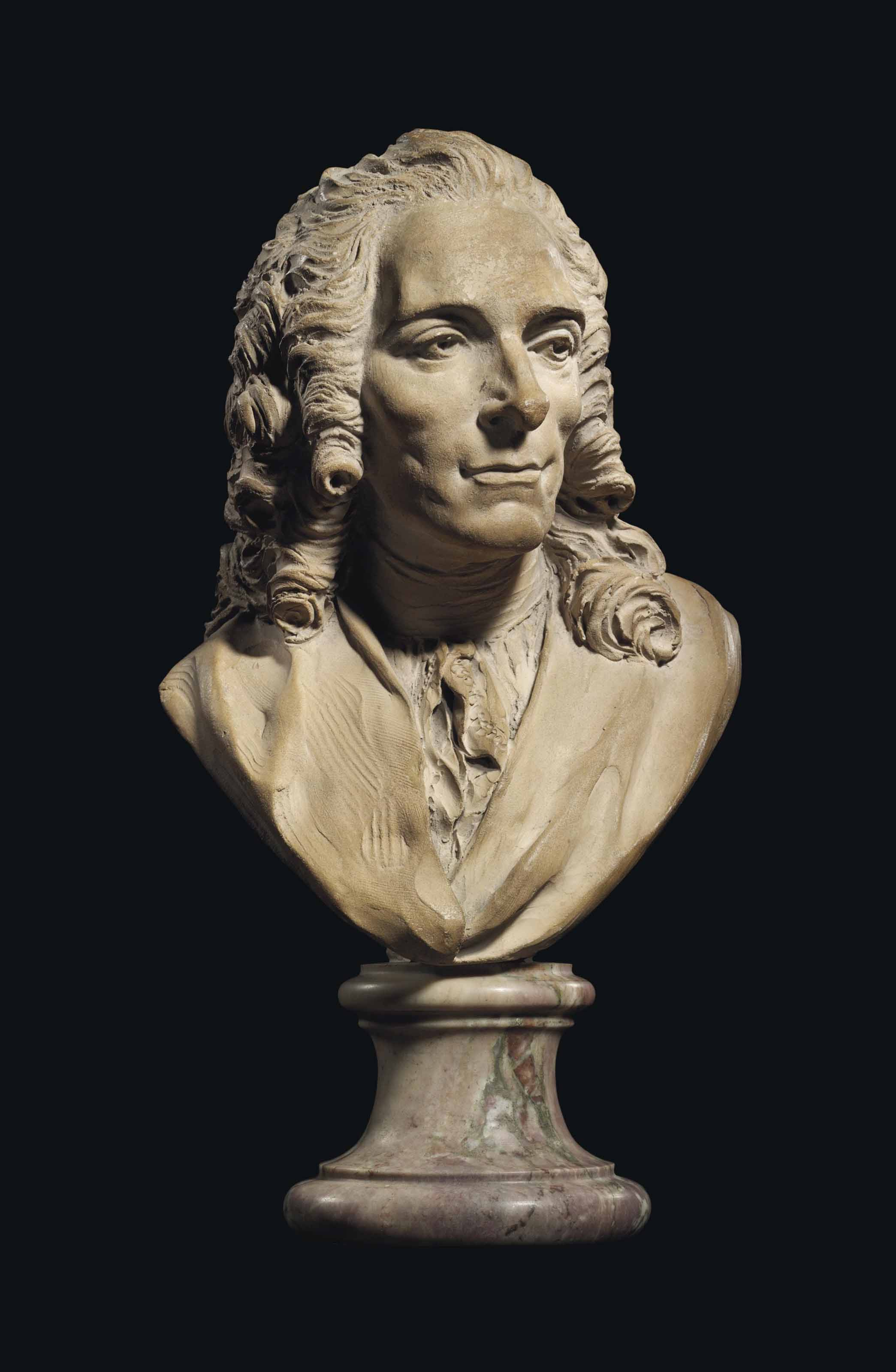 A TERRACOTTA BUST OF VOLTAIRE