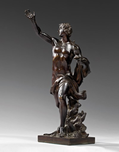 A PAIR OF BRONZE ALLEGORICAL G