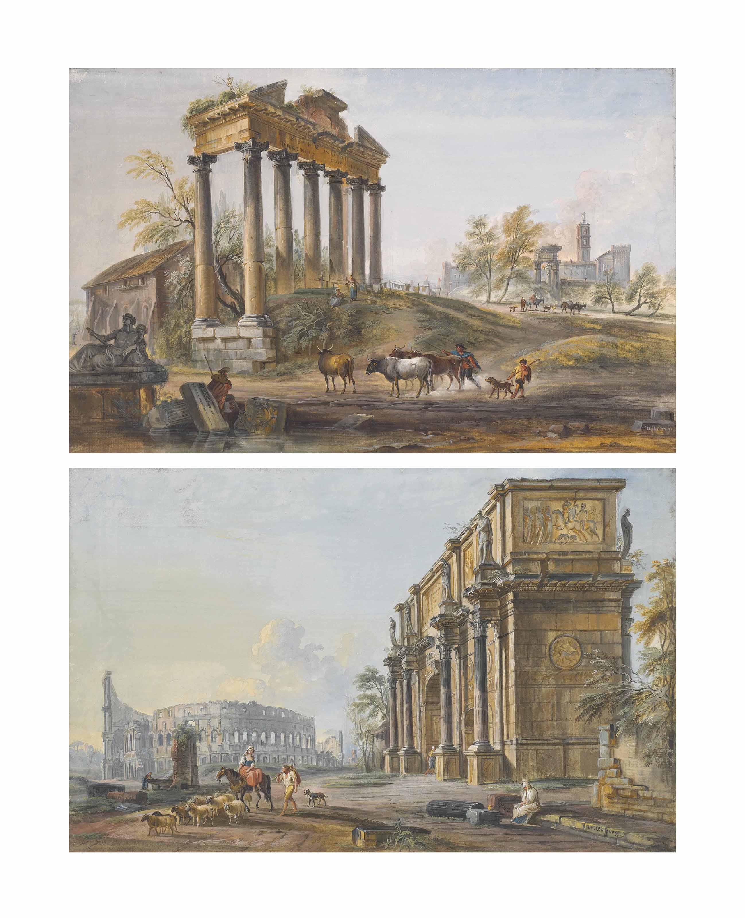 Morning: A view of the Forum Romanum with the Arch of Constantine and the Colosseum; and Afternoon: A view of the Forum Romanum with the Temple of Saturn and the Temple of Vespasian