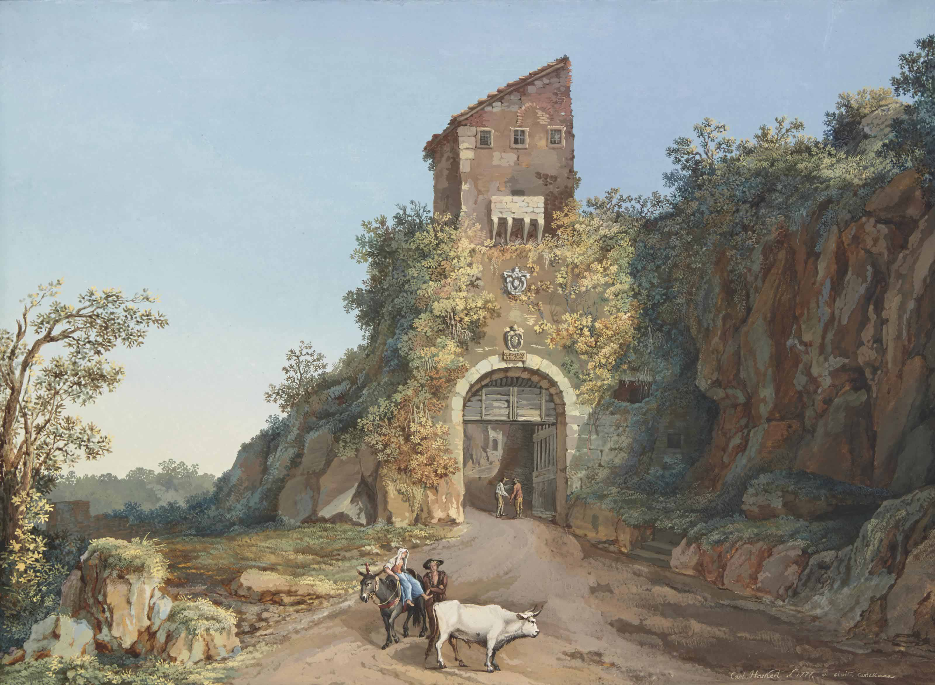 The road at Cività Castellana with a couple and animals in the foreground