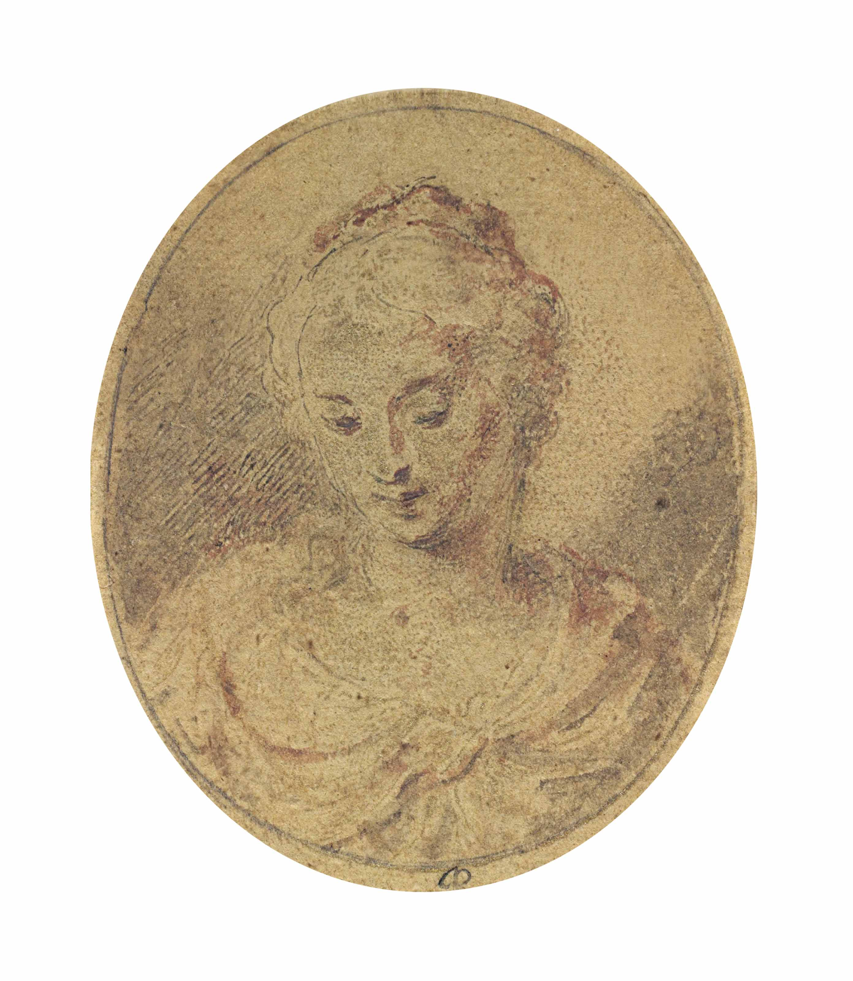 Portrait of a young lady, with downcast eyes, bust-length