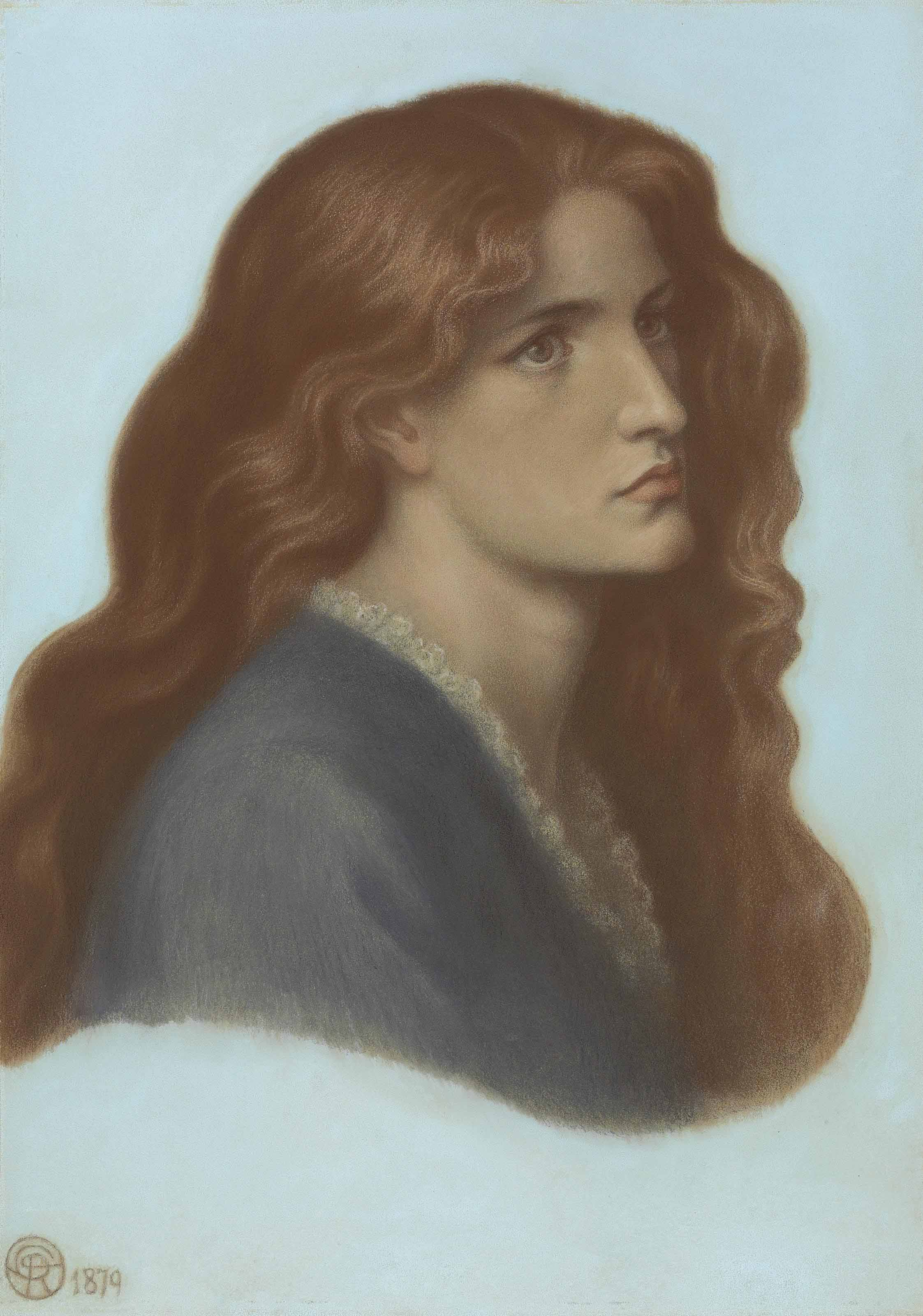 Portrait of Edith Williams, later Lady Griffith-Boscawen, bust-length in profile to the right with her hair flowing over her shoulders
