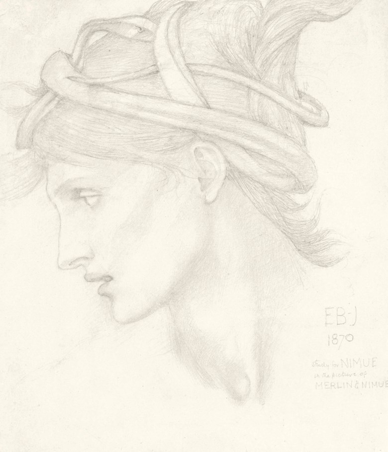 Sir Edward Coley Burne-Jones, Bt., A.R.A., R.W.S. (1833-1898), Head Study of Maria Zambaco for Nimue in The Beguiling of Merlin. Pencil on paper. 8 x 6¾ in (20.3 x 17.2 cm). Sold for £92,500 on 16 December 2015 at Christie's in London