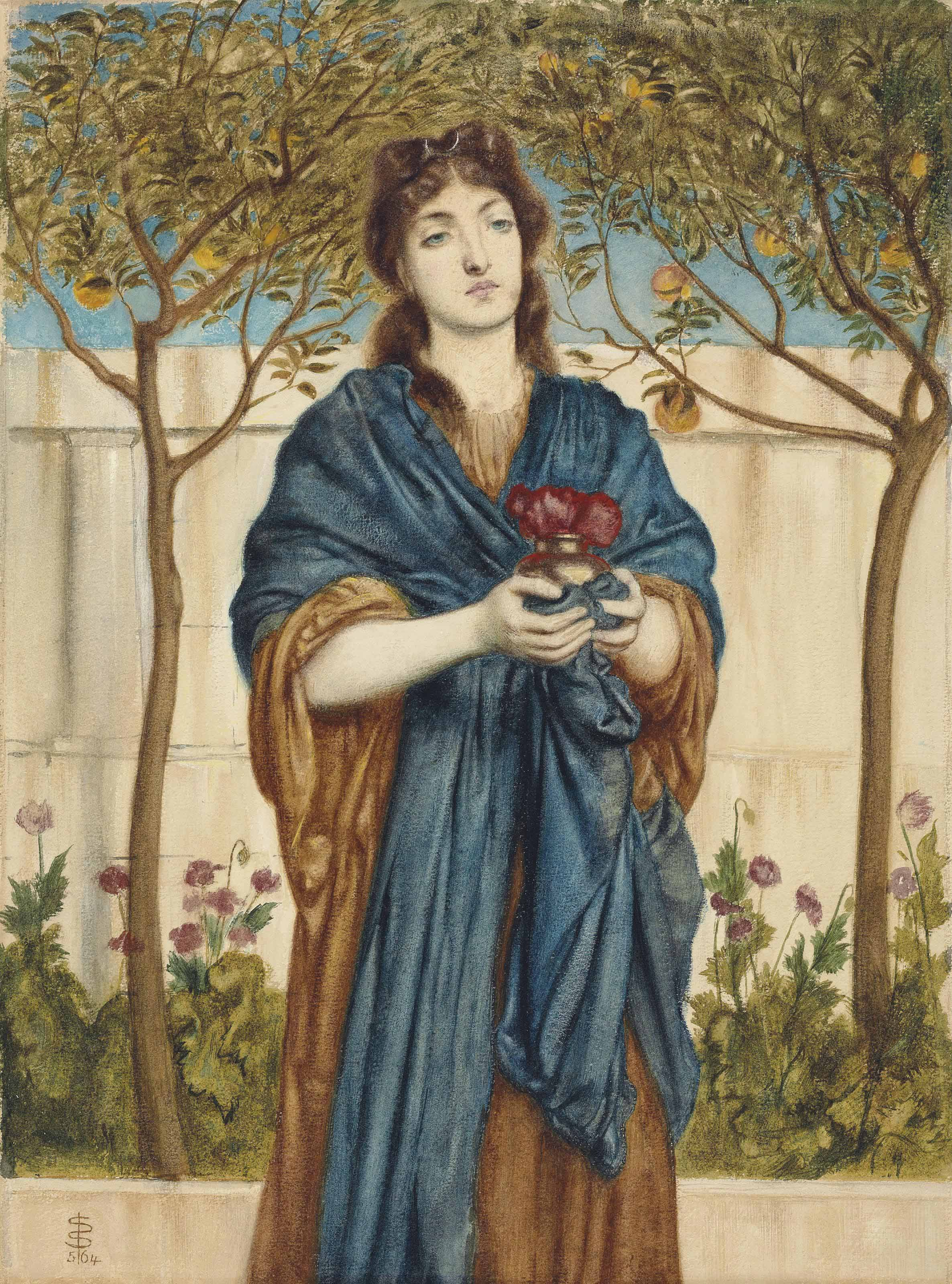 A priestess of Diana offering Poppies