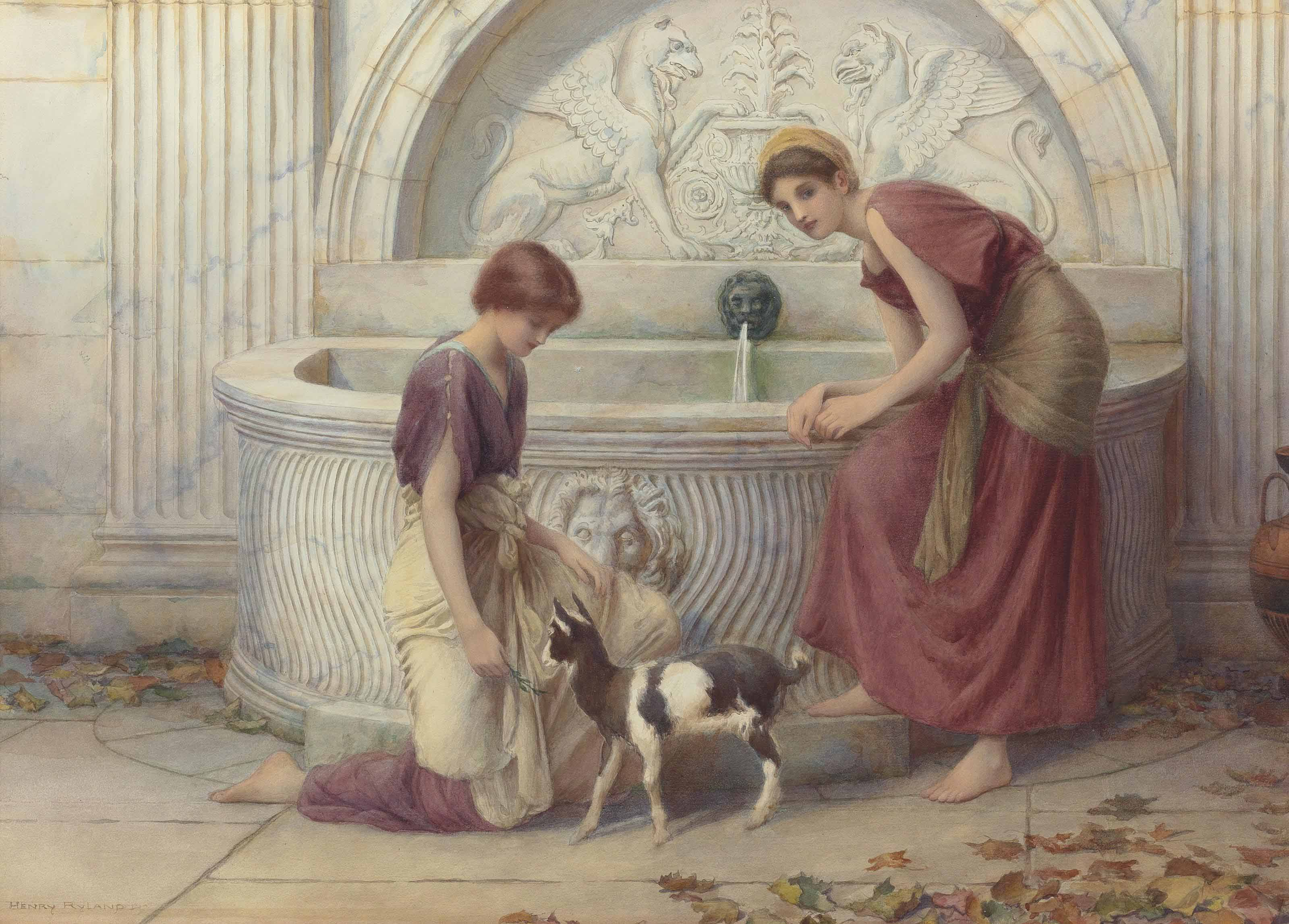 At the fountain, Autumn