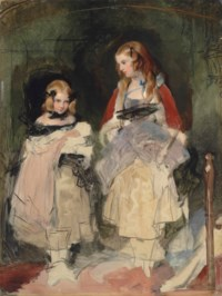 Double portrait of the Hons Mary Isabella and Cecile Katherine Carington, unfinished