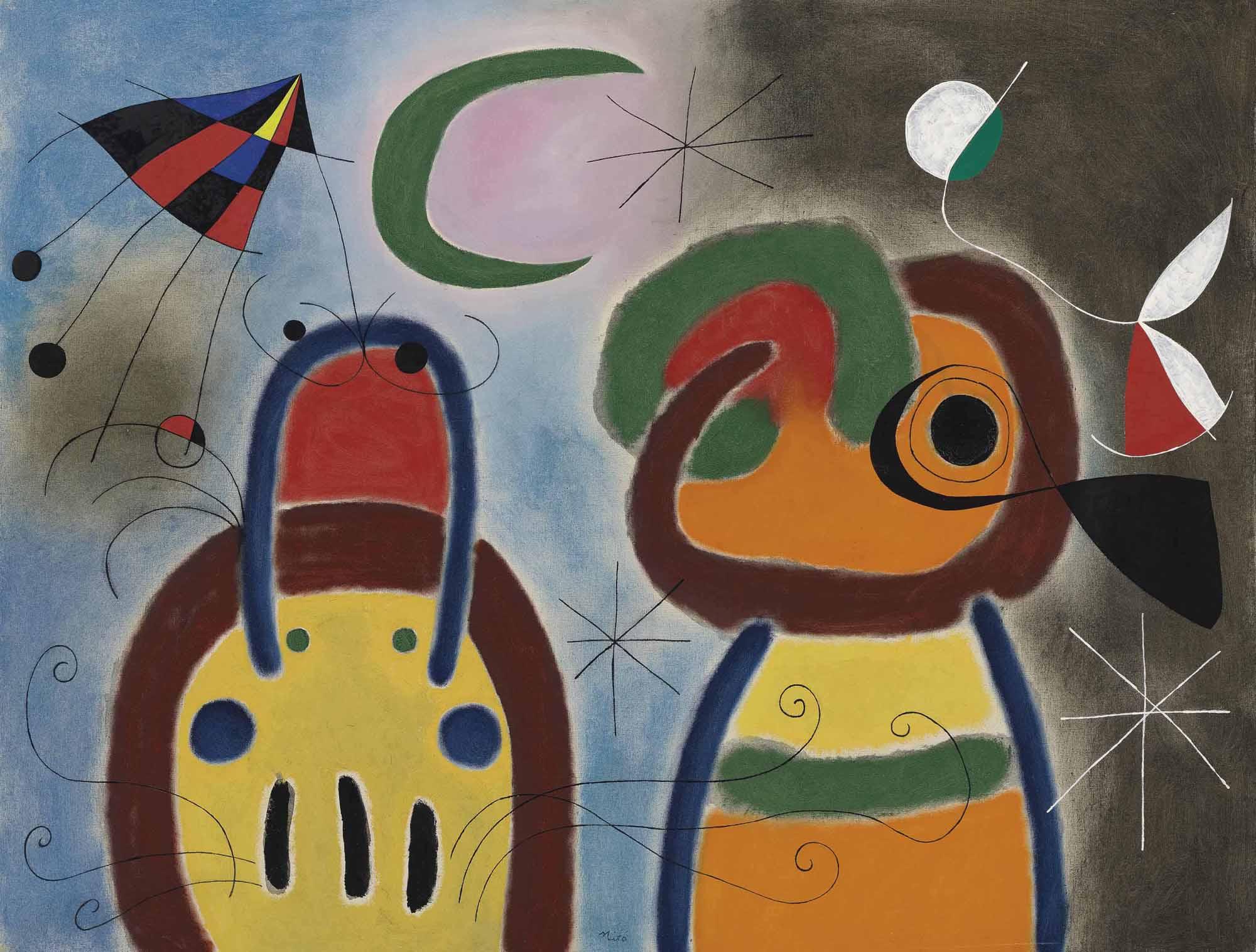 Joan Miró (1893-1983), Loiseau au plumage déployé vole vers larbre argenté, 1953.Oil on canvas. 35⅜ x 45¾ in (90 x 116 cm). Sold for £9,154,500 ($13,923,194) on 4 February 2015 at Christies in London.Artwork © Successió Miró  ADAGP, Paris and DACS London 2021