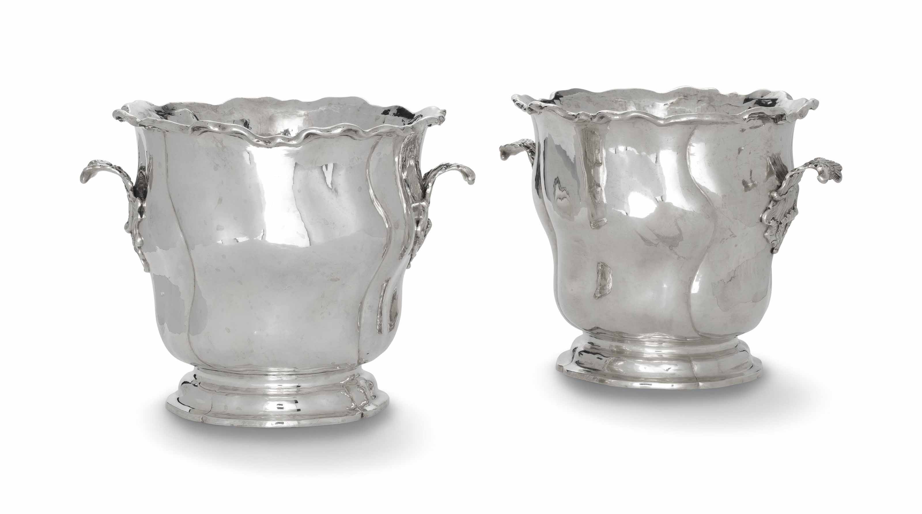 A PAIR OF GERMAN SILVER ICE-PAILS