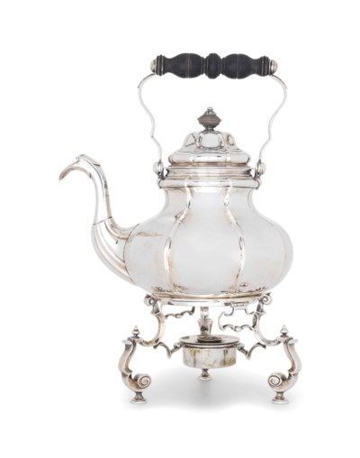 A GERMAN SILVER KETTLE AND STA