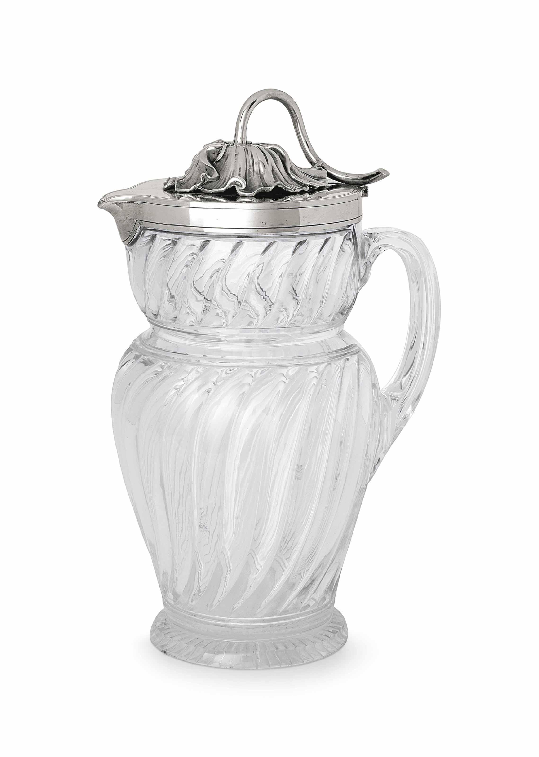 A SILVER-MOUNTED CUT-GLASS EWE