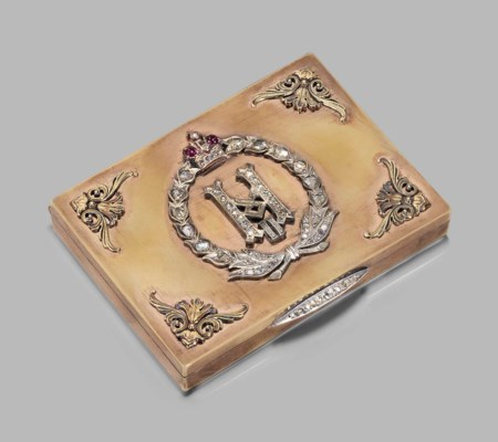 A FABERGE-STYLE GOLD SNUFF-BOX