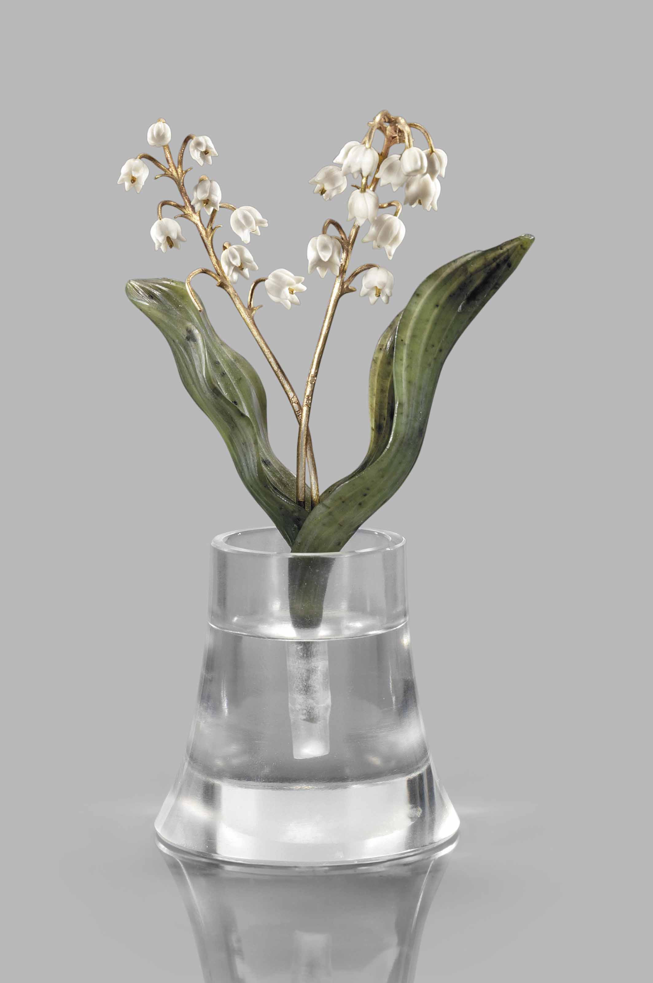 A faberge style hardstone carving of lily of the valley 20th lot 133 izmirmasajfo