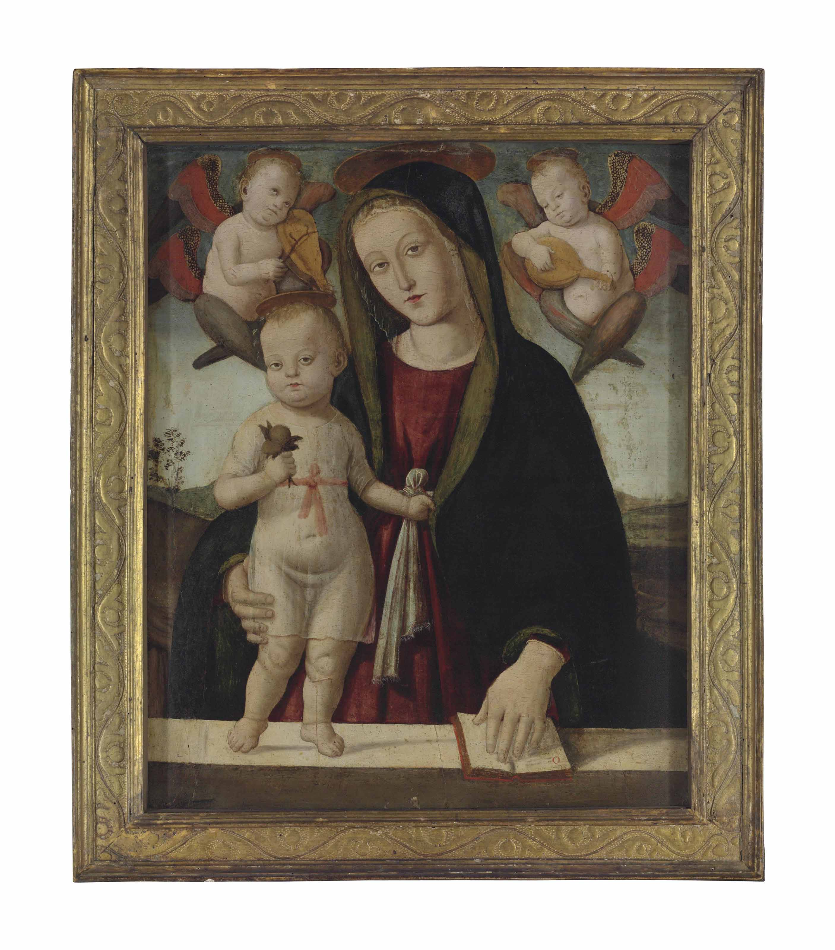 The Madonna and Child with angels playing instruments