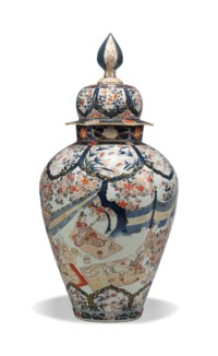 A JAPANESE IMARI VASE AND COVER