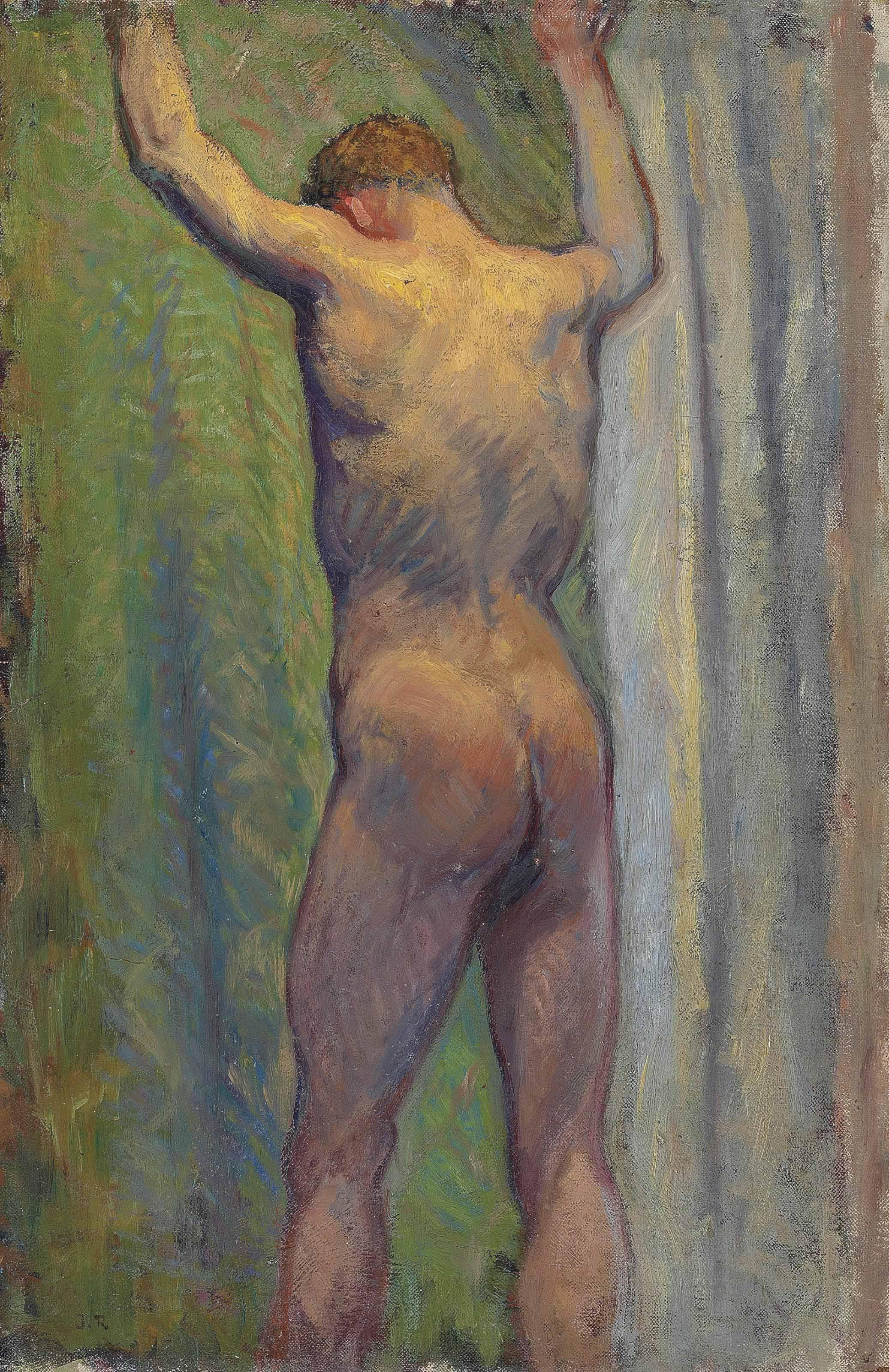 Standing male nude - an académie