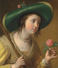Portrait of Princess Elizabeth II van de Palts (1618-1680) as a shepherdess, bust-length, holding a rose