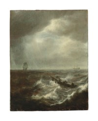 A seascape with figures in a boat in stormy waters, two men-of-war beyond