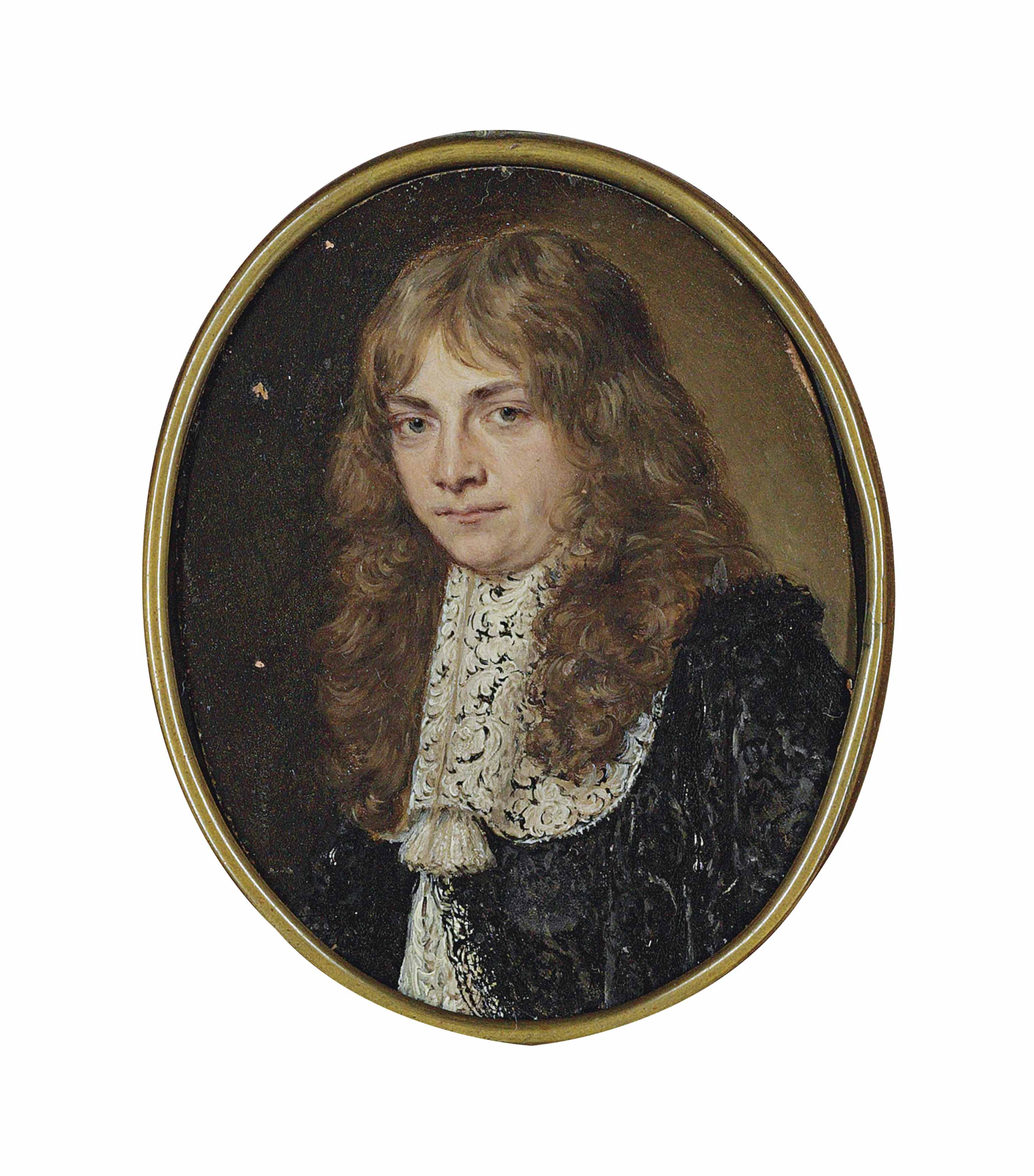 Portrait of a man, half-length, in a black embroidered jacket at lace collar