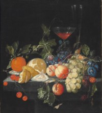 Grapes, oysters, a partially peeled lemon, peaches, and other fruit, with a façon de Venise glass of wine and another glass on a stone ledge