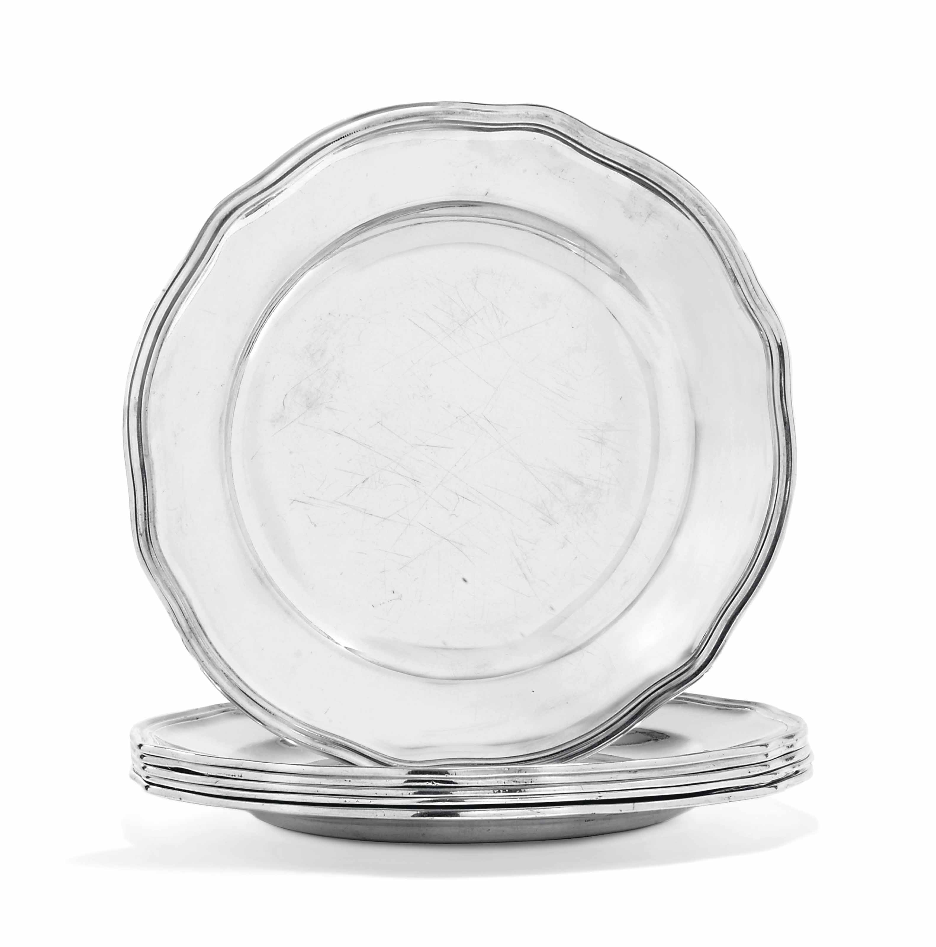 SIX GERMAN SILVER DINNER-PLATES FROM THE ELECTOR OF SAXONY 'FA IN SHIELD SERVICE'