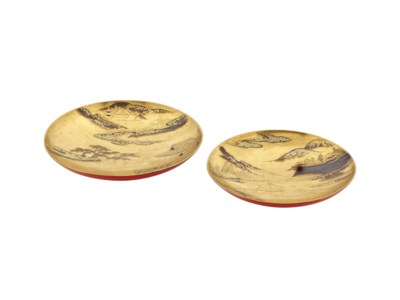 A Pair of Lacquer Sake Cups