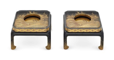 A Pair of Lacquer Sake Cup Sta