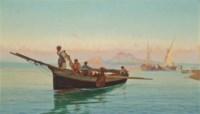 Fishing vessels on the coast, Naples