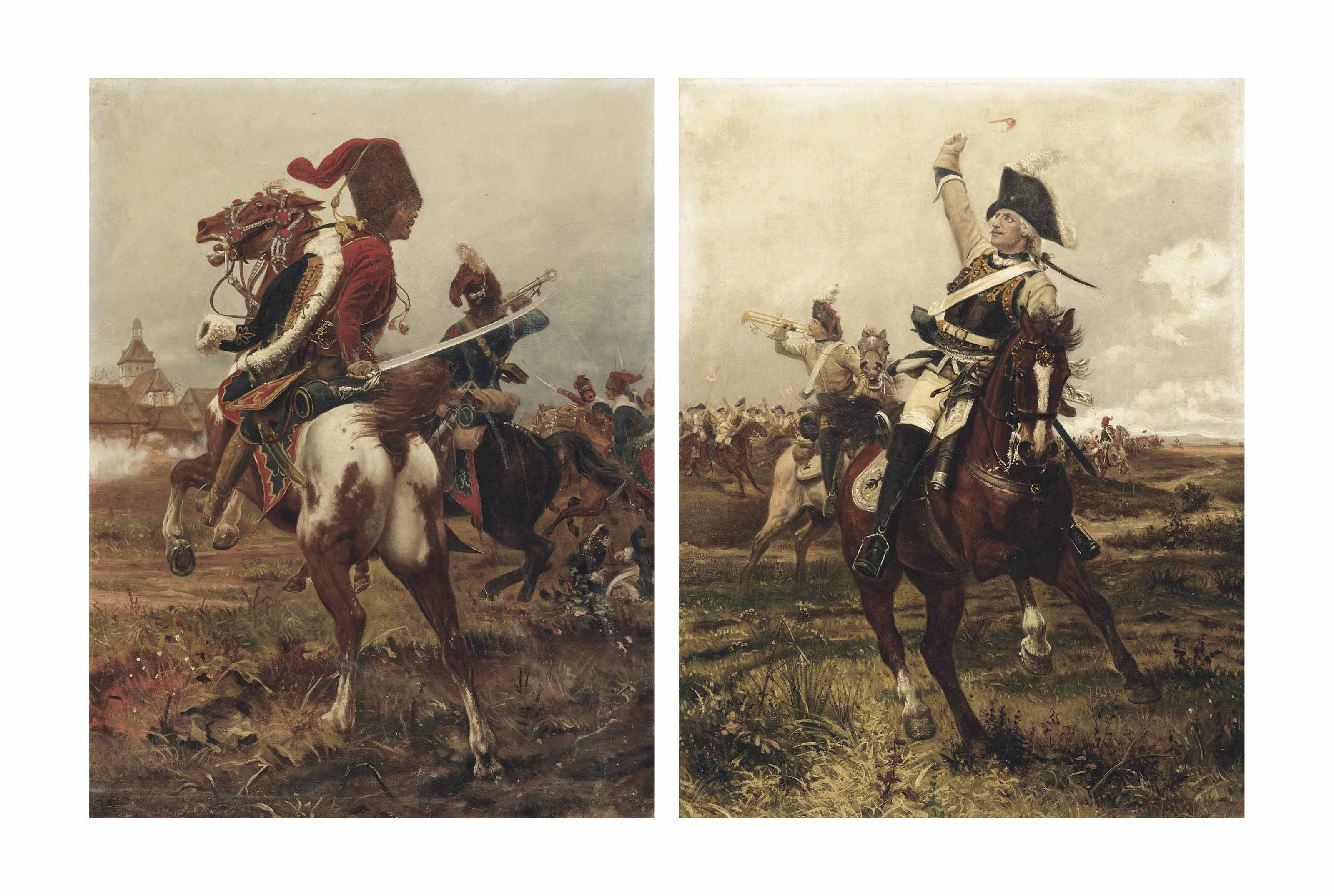 A Zieten Hussar in the heart of battle; and A Cuirassier leading the charge