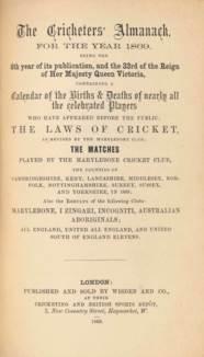 WISDEN, John. The Cricketer's