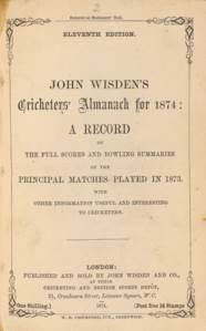 WISDEN, John. Cricketers' Alma