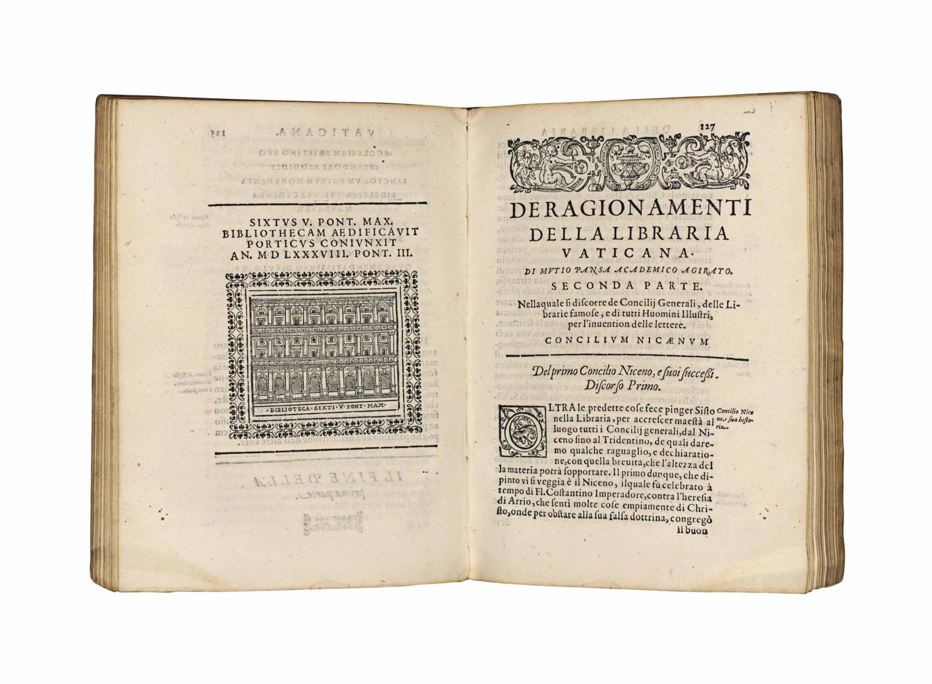 PANSA, Mutio  Della libraria vaticana  Rome: Giacomo Ruffinelli for