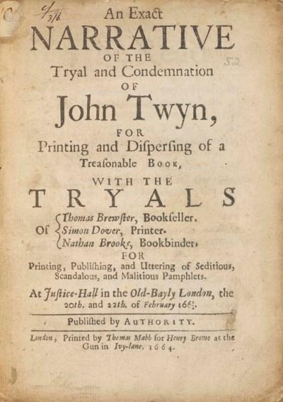 TWYN, John (c.1619-1664). An E