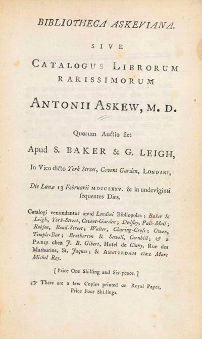 ASKEW, Anthony (1722-1772) – B
