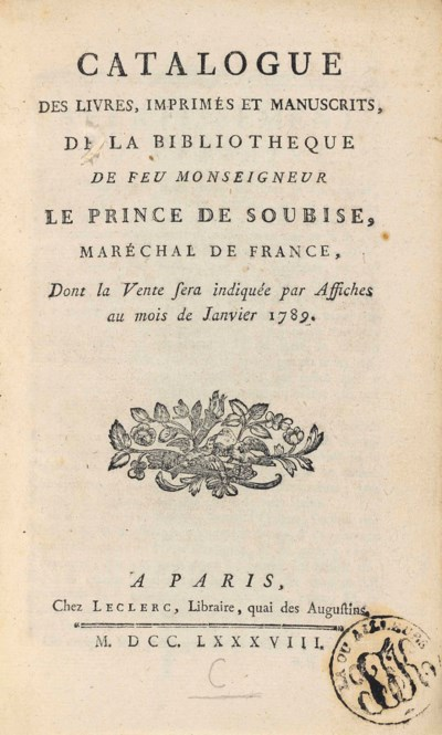 SOUBISE, Charles de Rohan, Pri