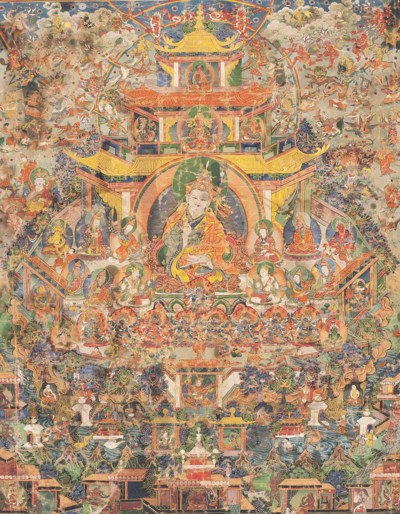 A THANGKA DEPICTING PADMASAMBH