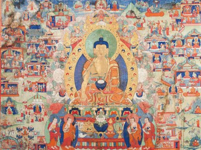 A VERY LARGE THANGKA DEPICTING