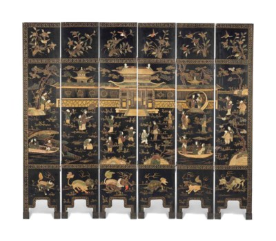A HARDSTONE-INLAID LACQUER SCR