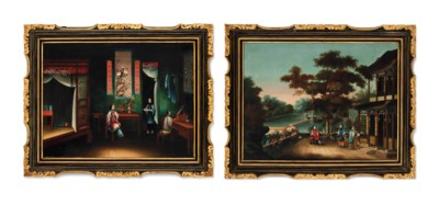TWO EXPORT PAINTINGS
