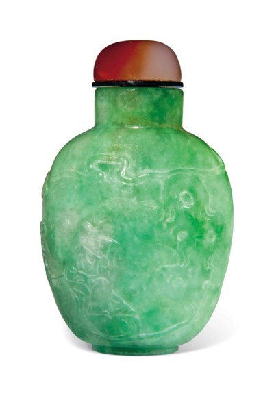 A JADEITE OVOID SNUFF BOTTLE