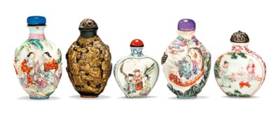 FIVE PORCELAIN SNUFF BOTTLES