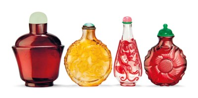 A GROUP OF FOUR GLASS SNUFF BO