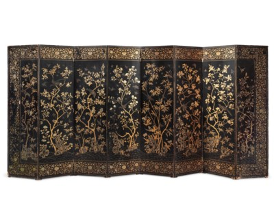 TWO SIMILAR GILT LACQUER EIGHT