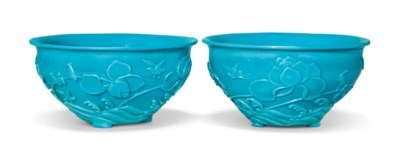 A PAIR OF CARVED TURQUOISE GLA
