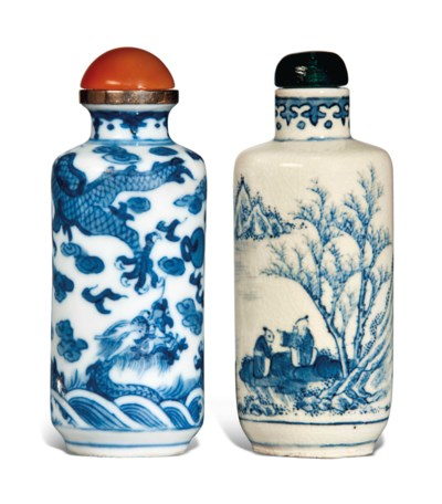 TWO BLUE AND WHITE CYLINDRICAL
