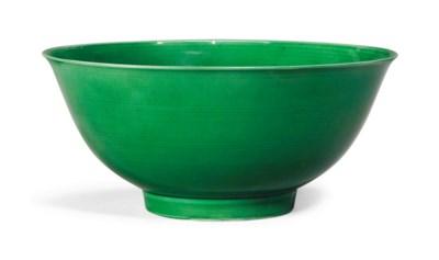 A GREEN-GLAZED BOWL