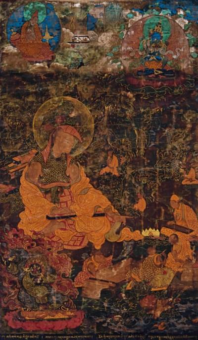 A THANGKA DEPICTING A LAMA