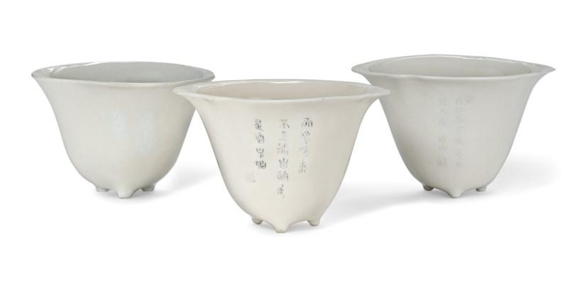 THREE DEHUA INSCRIBED WINE CUP